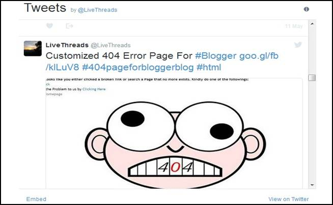 Embed Twitter Recent Posts widget To Blogger