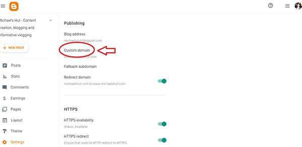 blogger dashboard custom domain