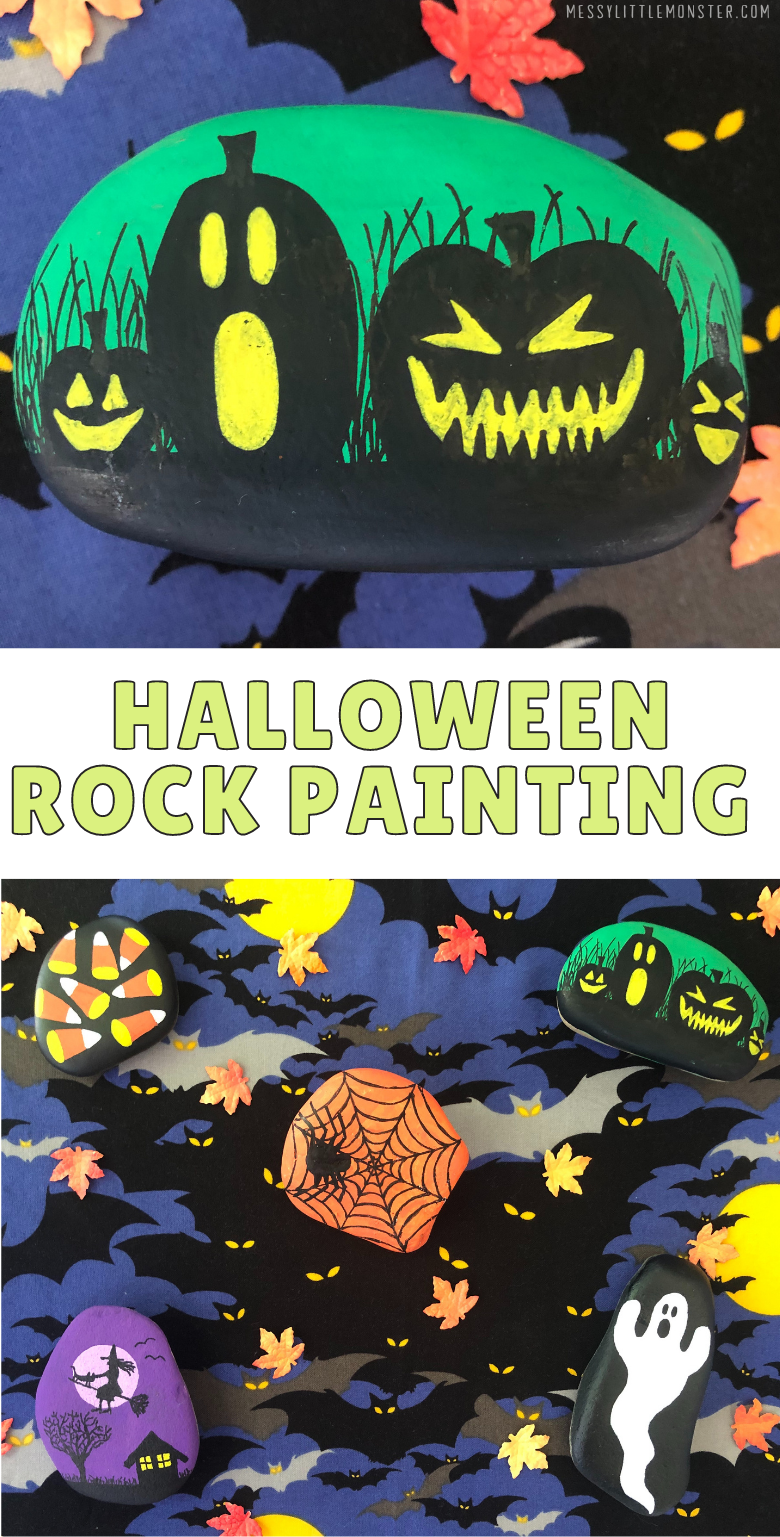Painting rocks for Halloween. Halloween rock painting ideas for kids.