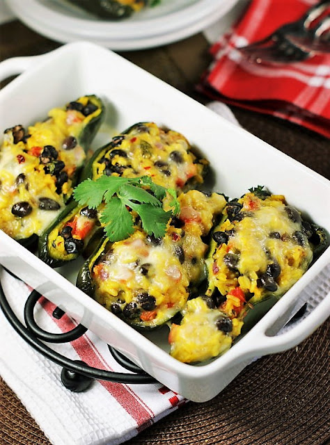 Southwestern Stuffed Poblano Peppers in Baking Dish Image