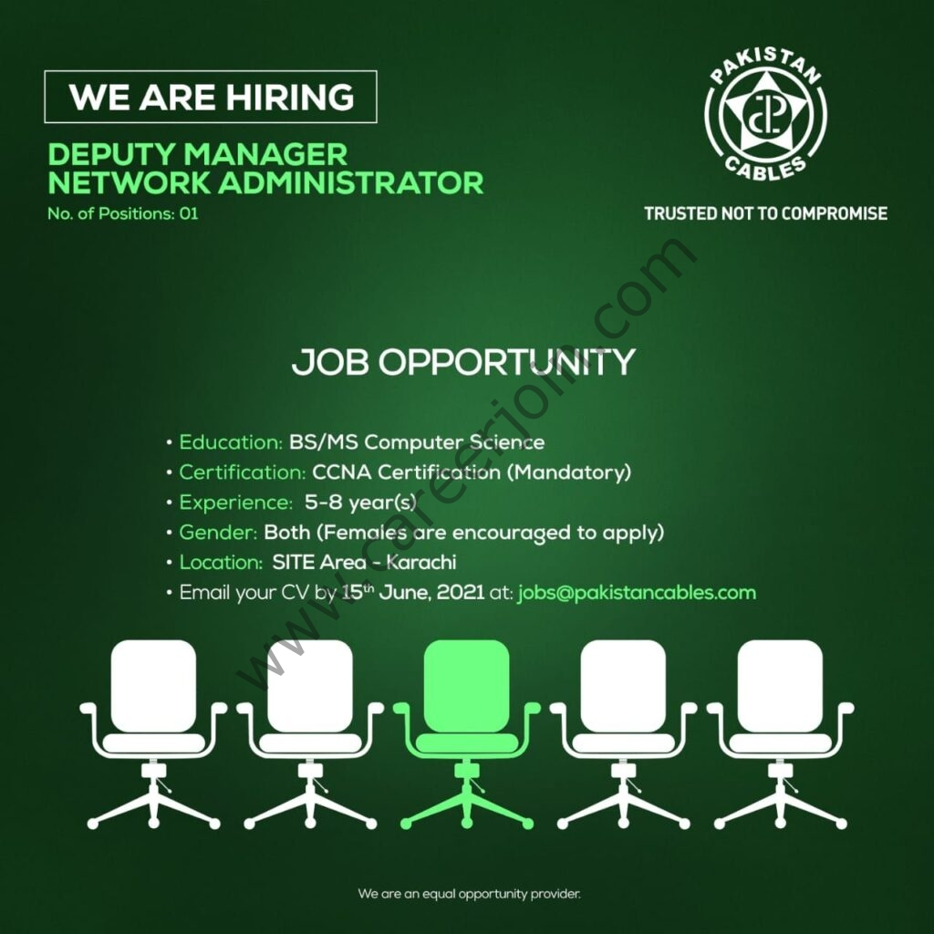 jobs@pakistancables.com - Jobs in Pakistan Cables Limited 2021 For Deputy Manager of Network Administrator Post