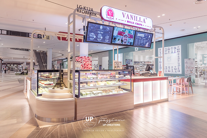 Central i city vanilla mille crepe kiosk with wood texture laminate for cabinet and display