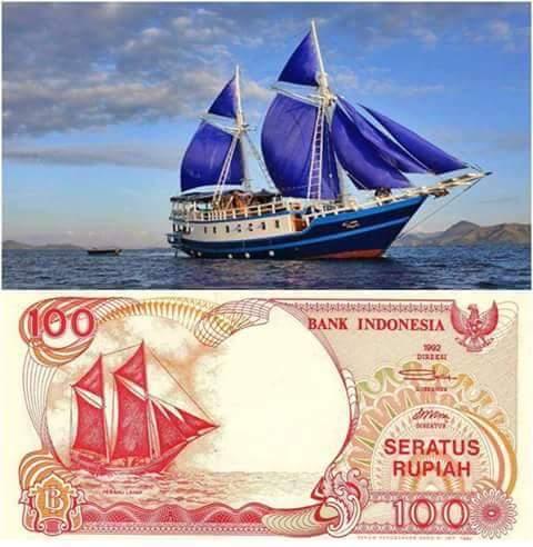 uang kertas indonesia 100 rupiah perahu pinisi