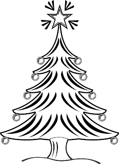 Christmas Tree Clip Art Black and White