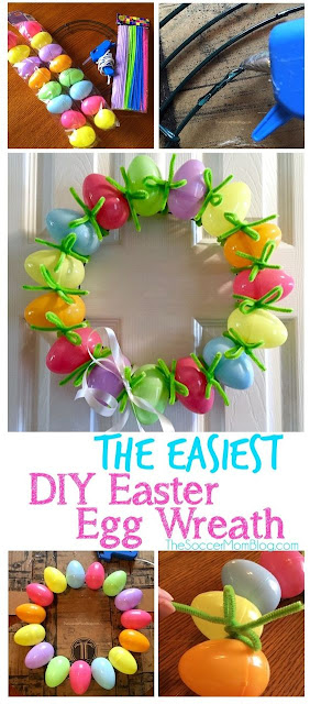 easter, crafts, kids, DIY easter wreath, easter egg wreath
