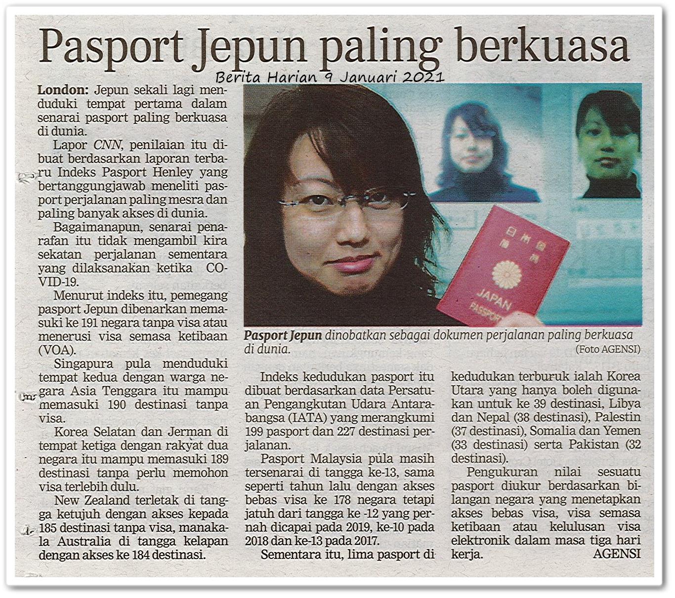 Pasport Jepun paling berkuasa - Keratan akhbar Berita Harian 9 Januari 2021