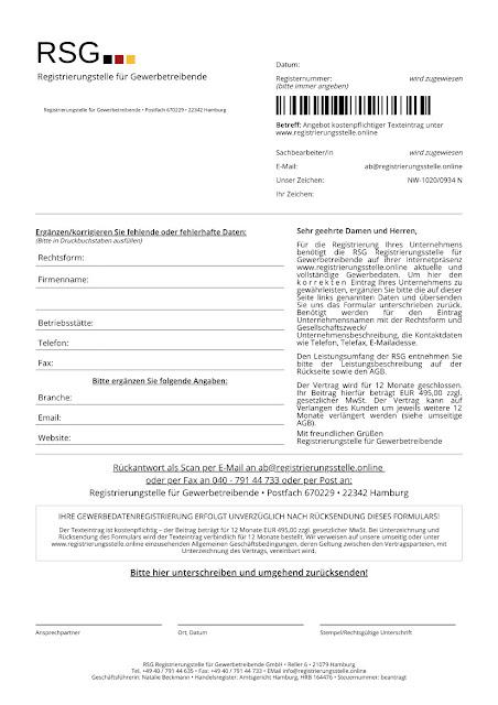 Scan: RSG Registrierungsstelle für Gewerbetreibende GmbH Formular Jan 2021