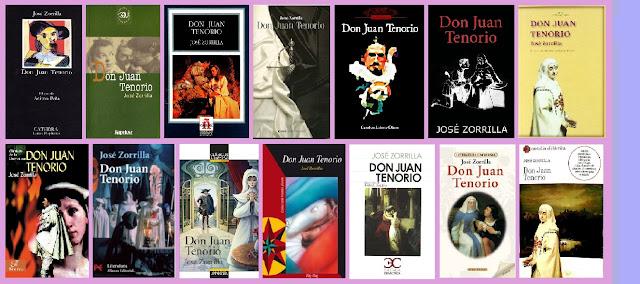 Portadas del libro teatral dramático Don Juan Tenorio, de José Zorrilla