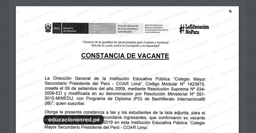 COAR LIMA: Constancia de Vacante 2019 - Colegio Mayor Secundario Presidente Del Perú - CMSPP - www.colegiomayor.edu.pe