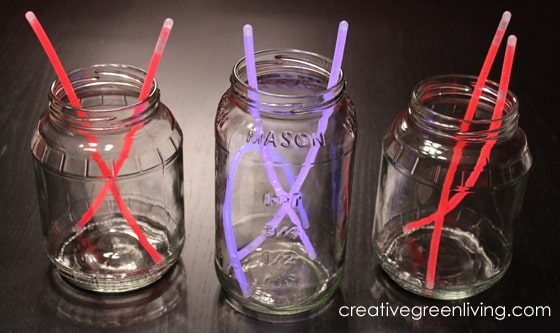 red white and blue lanterns made with glow sticks and glow bracelets