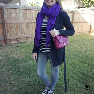 awayfromblue Instagram | school run winter mum style skinny jeans stripes monochrome outfit with pink and purple