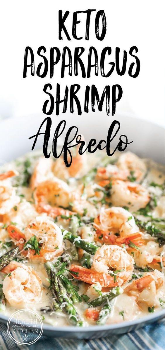 Keto Creamy Asparagus and Shrimp Alfredo