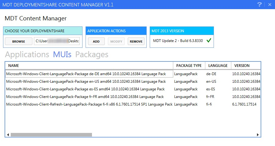 Powershell tool to manage MDT Applications, MUI and packages