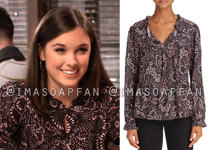 Willow Tait, Katelyn MacMullen, Black and Pink Floral Print Blouse, General Hospital, GH