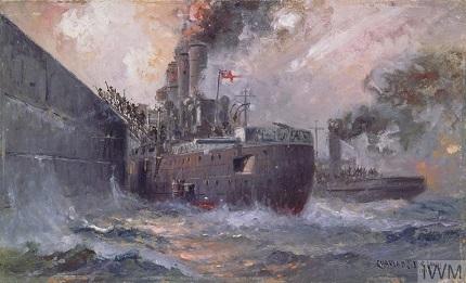 """The 'Vindictive' at Zeebrugge: The Storming of the Zeebrugge Mole."" Charles J de Lacy, 1918. IWM Non-commercial licence © IWM (Art.IWM ART 871)"