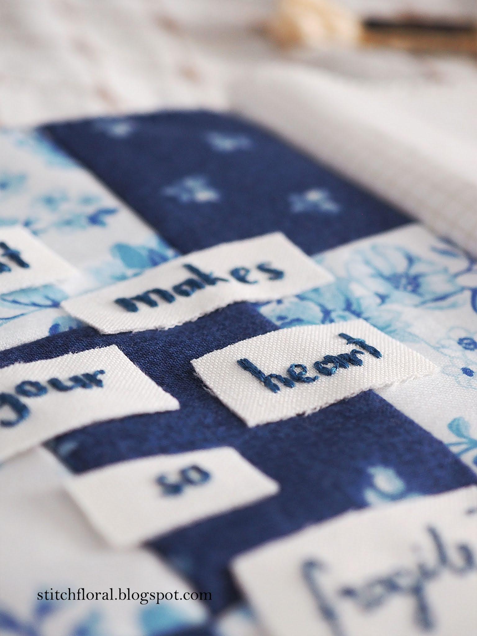 blue patchwork fabrics