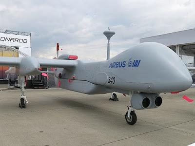 El drone Heron durante el ILA Berlin Air Show de 2018  - Boevaya Mashina / Wikimedia  Commons