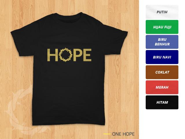 Tampilan kaos 'One Hope' berwarna hitam