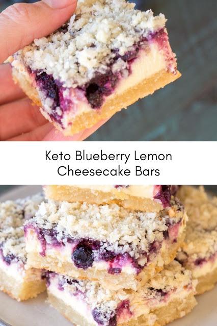 Keto Blueberry Lemon Cheesecake Bars