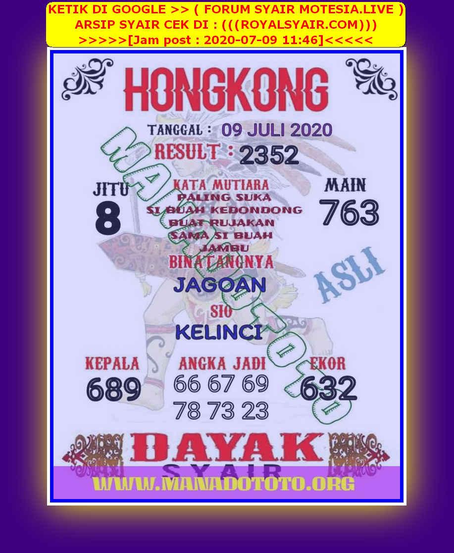 Kode syair Hongkong Kamis 9 Juli 2020 100