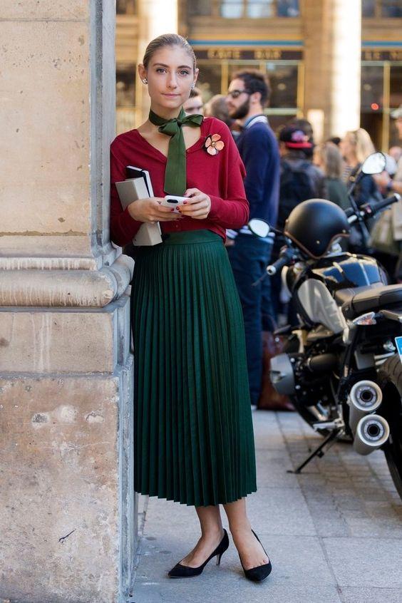 emerald green and red street style