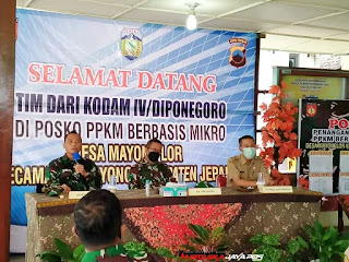 Kunjungan Tim Wasev Dari Kodam IV /Diponegoro di Posko PPKM Mikro di Desa Mayong Lor