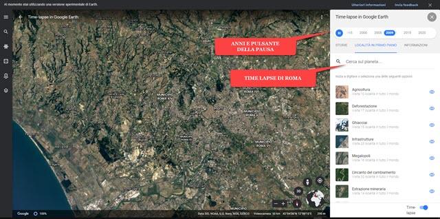 località in time lapse google earth