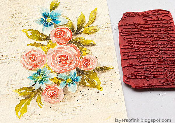 Layers of ink - Watercolor Florals Tutorial by Anna-Karin Evaldsson. Stamp script.