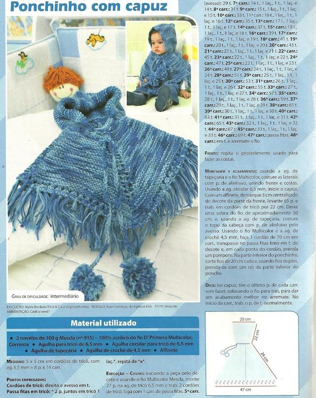 Ponchinho Para Bebê Com Capuz-Revista Tricô