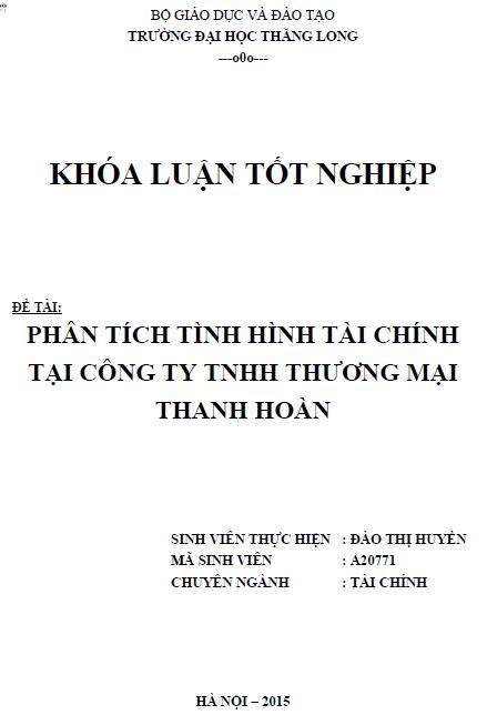 Phân tích tình hình tài chính tại Công ty TNHH Thương mại Thanh Hoàn