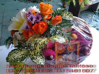 Rangkian Parcel Bunga Dan Buah Spesial Imlek