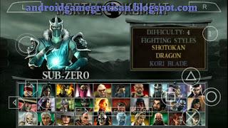 Game PSP yang ternyata juga lancar dimainkan emulator kesayangan kita PPSSPP Mortal Kombat: Unchained iso