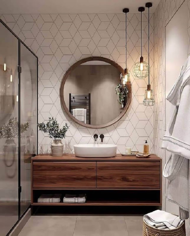 Decoration with round mirror for bathroom