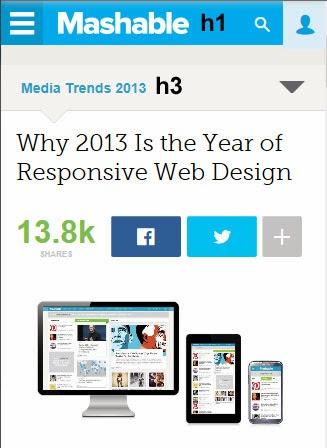 Parte superior de la página Mashable en resoluciones bajas. El logo es H1, el título de la primera zona de contenido es H3