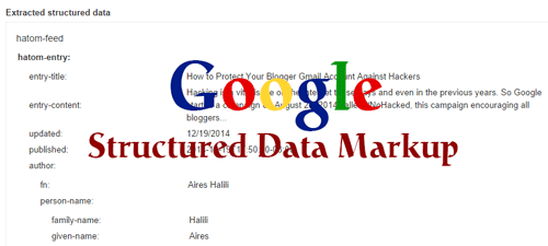 Structured Data markup on blogger website with Google logo