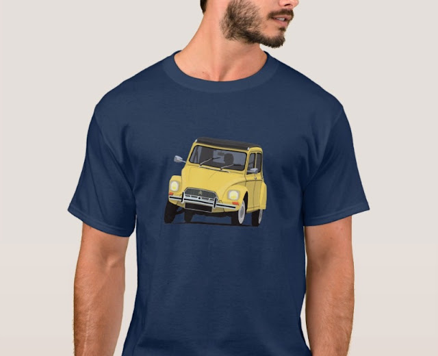 Yellow Citroen Dyane - car t-shirts