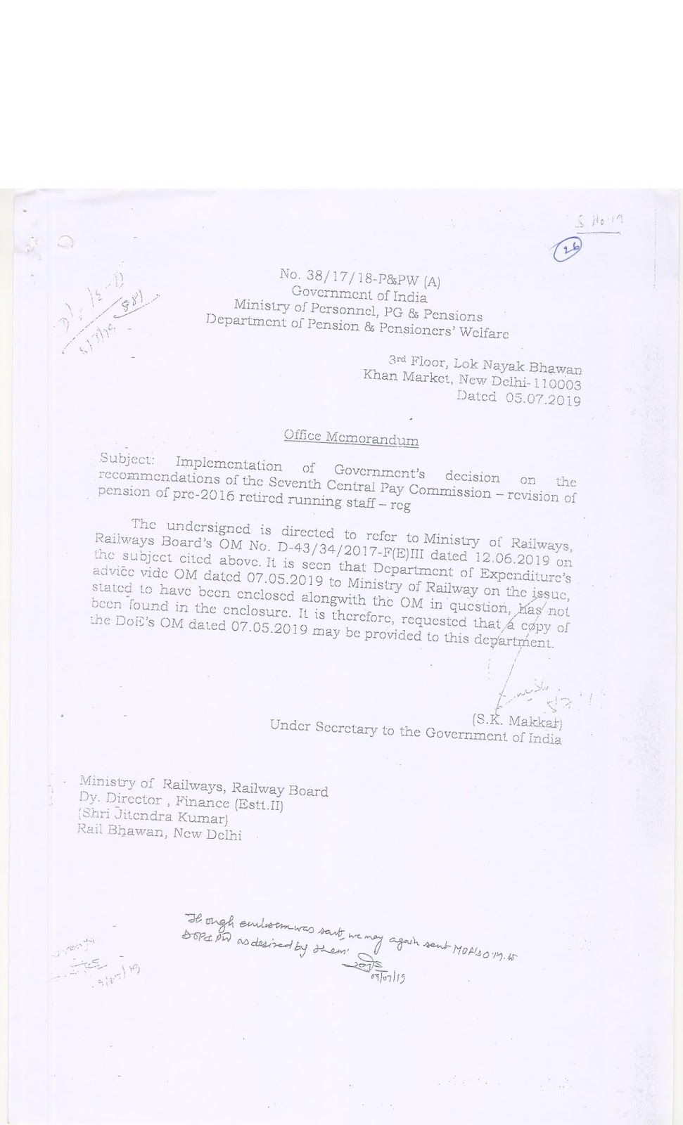 Running Staff revision of pension of pre-2016