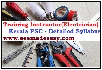 TRAINING INSTRUCTOR (ELECTRICIAN) Syllabus Kerala PSC