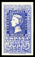 Filatelia - Centenario del Sello español (1950) - Valor de 75 céntimos