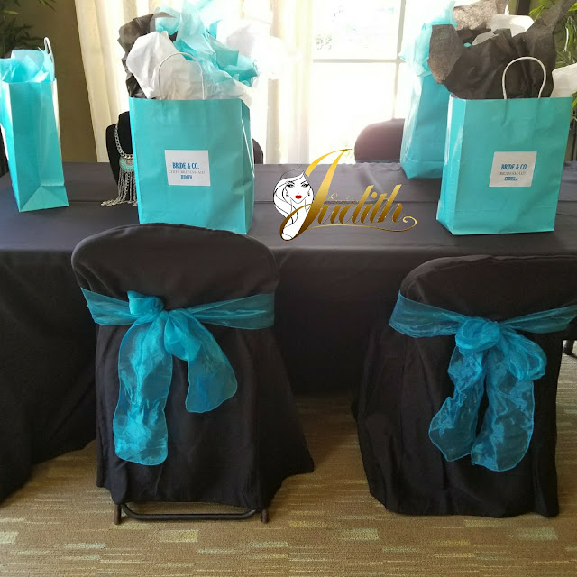 party gifts, diy, tiffany blue and black decorations, bridal brunch