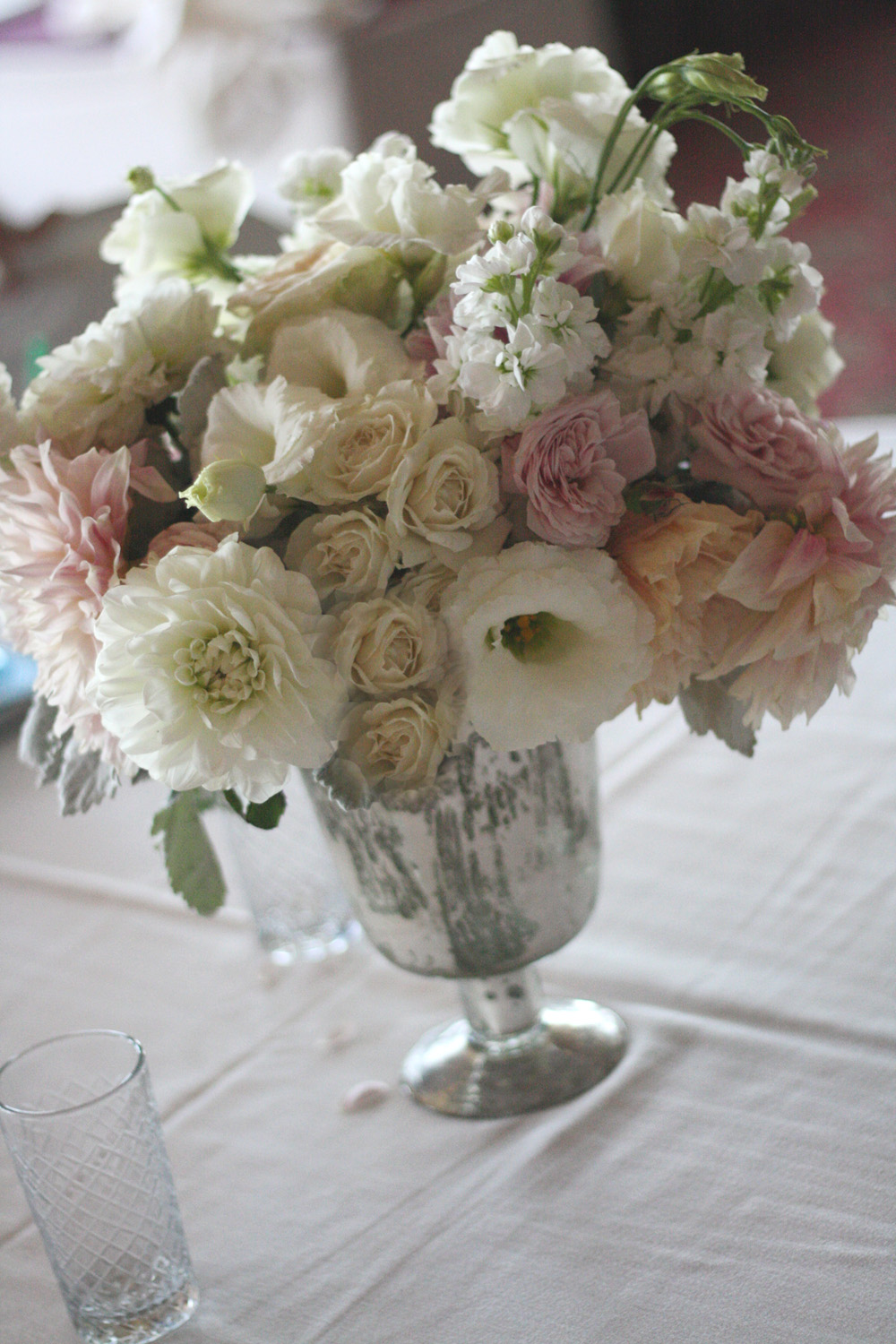 Oak Amp The Owl White And Soft Pink Sample Centerpieces