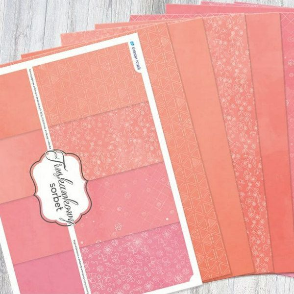 scrapbook paper set in shades of peach sorbet