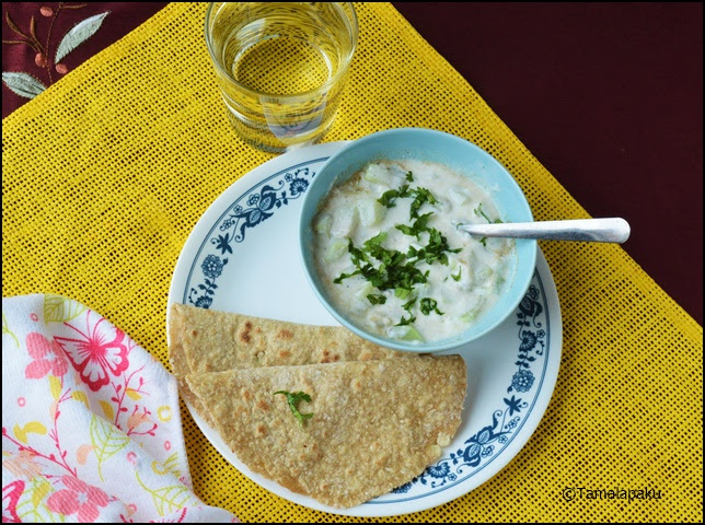 Lauki Wheat Bran Roti and Lauki Raita