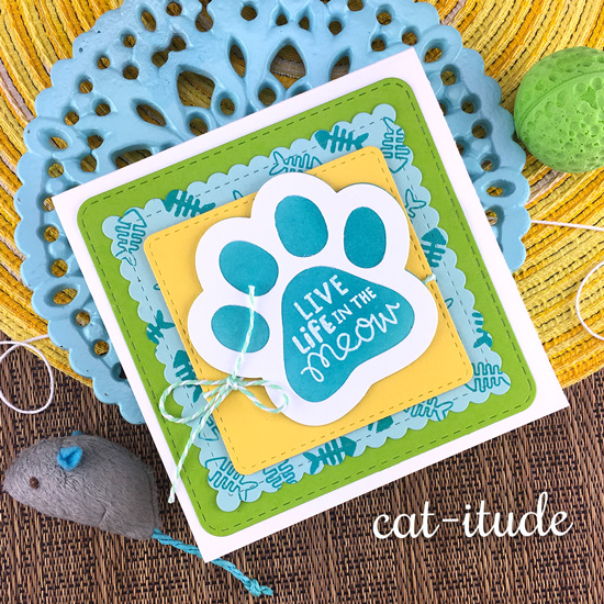 Pawprint Cat Card by Jennifer Jackson | Cat-itude Stamp Set and Pawprint Shaker Die Set by Newton's Nook Designs #newtonsnook #handmade