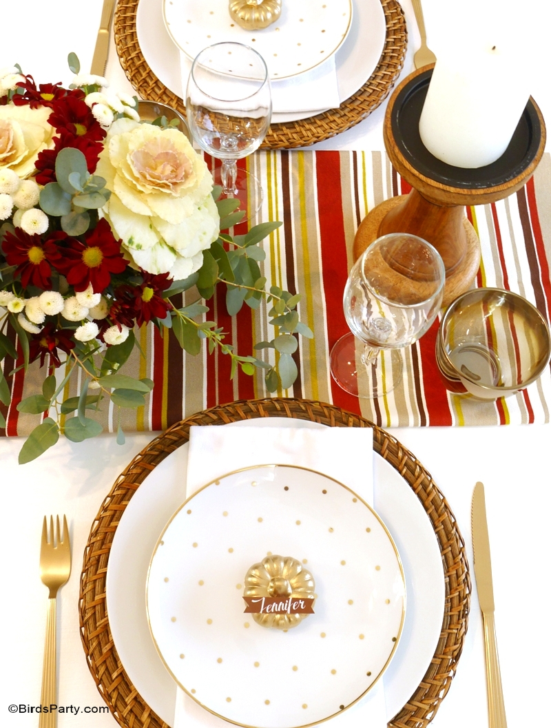 Modern DIY Thanksgiving Tablescape - BirdsParty.com