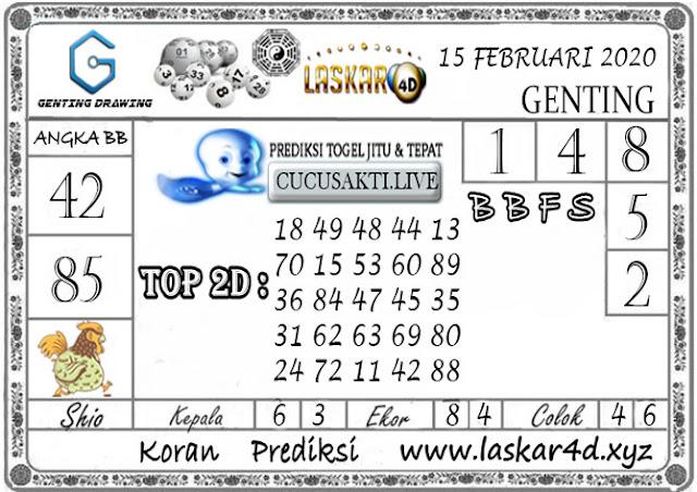Prediksi GENTING DRAWING LASKAR4D 15 FEBRUARI 2020