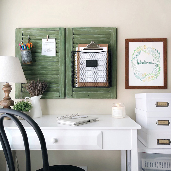 Green and white farmhouse office