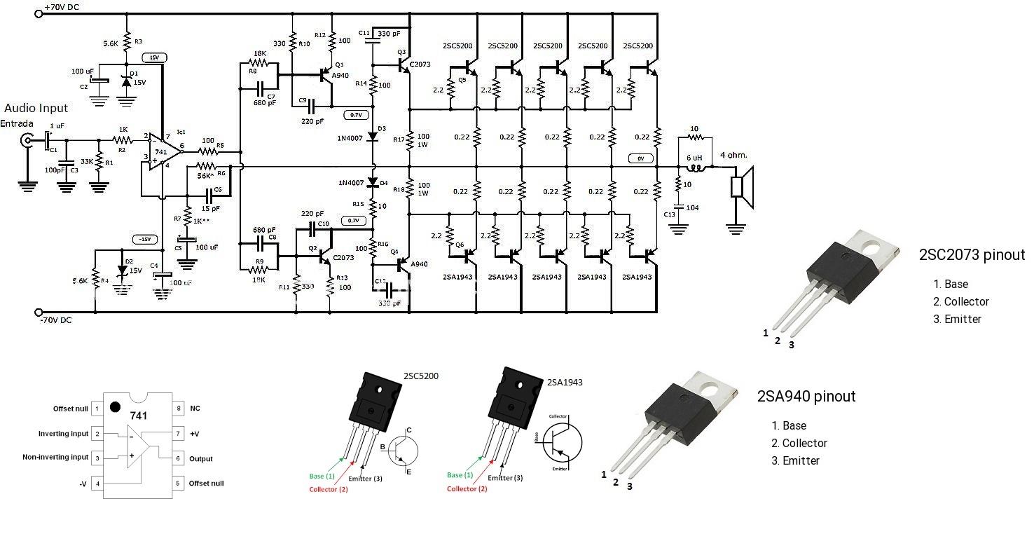1000W Audio amplifier | 4 ohm speaker | 1000w Amplifier Circuit Using Transistor |  | ONLINESOLN