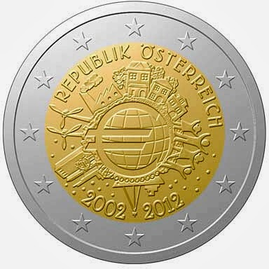 2 Euro Commemorative Coins Austria 2012, Ten years of Euro cash