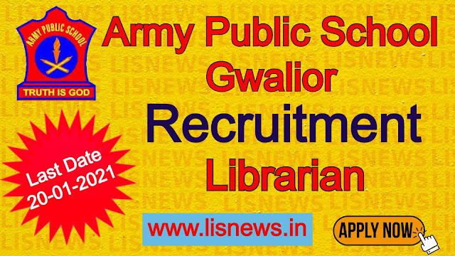 Vacancy of Librarian at Army Public School, Gwalior